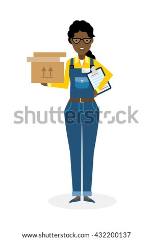 Delivery woman with parcel. Fast transportation. Isolated african american cartoon character on white background. Postwoman, courier with clipboard and package. - stock vector