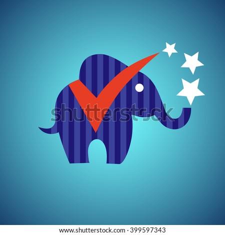 Democracy Symbol Colored Vector. Logo of  elephant - stock vector