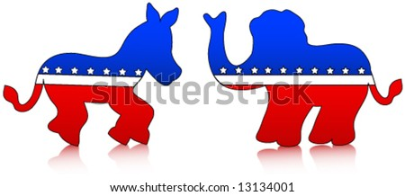 Democrat and republican party symbols (donkey and elephant) with reflections over a white background.Vector. - stock vector