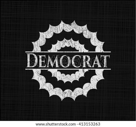 Democrat chalk emblem, retro style, chalk or chalkboard texture - stock vector