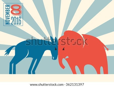 democrat donkey and republican elephant butting heads - stock vector