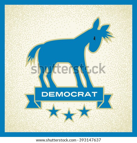 democrat donkey blue political election vector design - stock vector