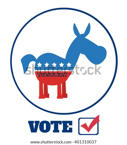 Democrat Donkey Cartoon Character Circle Label With Text Vote.Vector Illustration Flat Design Style Isolated On White - stock vector