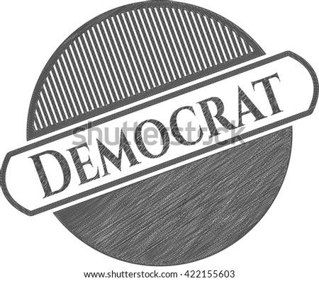 Democrat emblem with pencil effect - stock vector