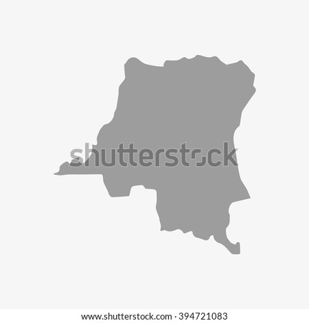 Democratic  Republic of the Congo map in gray on a white background - stock vector