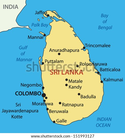 Democratic Socialist Republic of Sri Lanka - vector map - stock vector