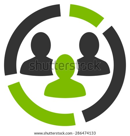 Demography diagram icon from Business Bicolor Set. Vector style: bicolor flat symbol, eco green and gray colors, rounded angles, white background. - stock vector