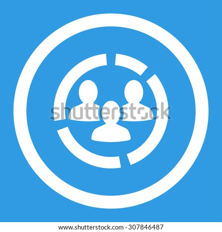 Demography diagram vector icon. This rounded flat symbol is drawn with white color on a blue background. - stock vector