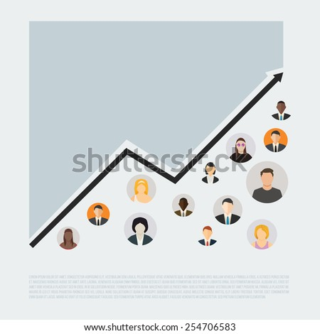 Demography growth concept with flat style people icons vector illustration. - stock vector