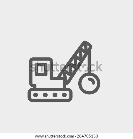 Demolition trailer icon thin line for web and mobile, modern minimalistic flat design. Vector dark grey icon on light grey background. - stock vector