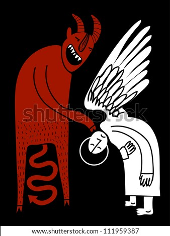 demon forces angel to lower the head - stock vector