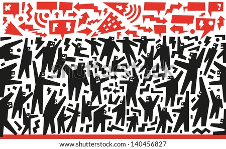 demonstration people - abstract vector background - stock vector