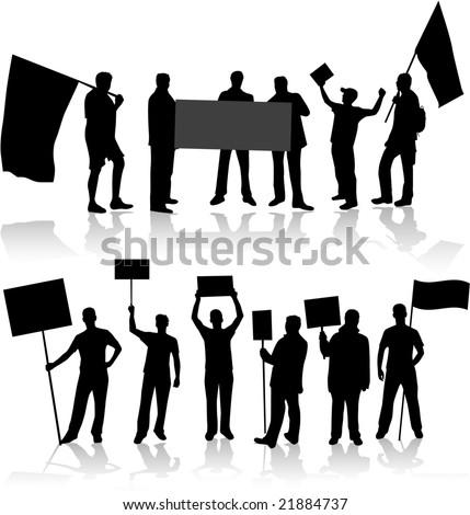 Demonstration People - black silhouette - stock vector