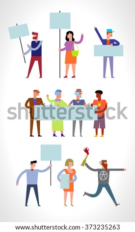 Demonstration, protest concept crowd of people with banners. Vector set in flat style - stock vector