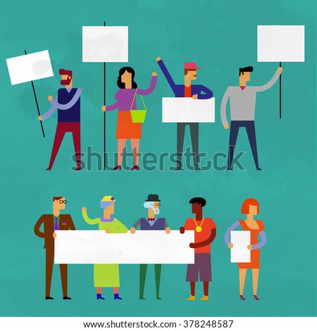 Demonstration, protest concept crowd of people with banners. Vector set in flat style. Flat illustration isolated on green - stock vector