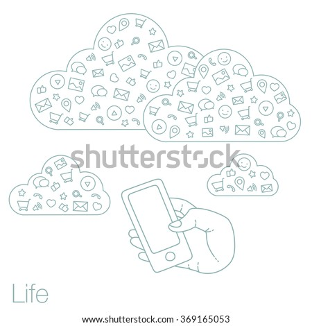 Demonstration screen mobile for presentation application. Icons set in flat style on background. Illustration of cloud technology and services. Hand with smartphone. Media and networking in devices - stock vector