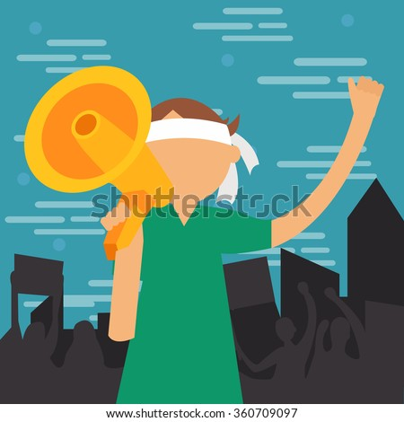 demonstration young man yelled at megaphone loud speaker  shouting vector illustration protest demonstrate - stock vector