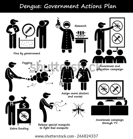 Dengue Fever Government Actions Plan Against Aedes Mosquito Stick Figure Pictogram Icons - stock vector