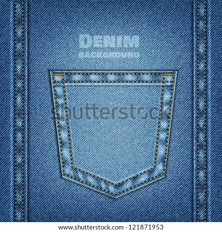 Denim background with Jeans pocket. Vector eps10 - stock vector