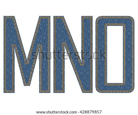 Denim fabric letters. Vector illustration. - stock vector