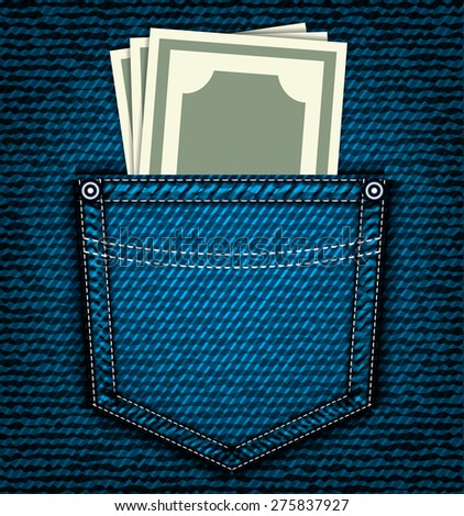 Denim jeans pocket with money, vector part of clothes - stock vector