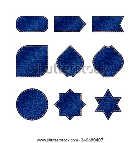 Denim labels and badges of different forms - stock vector