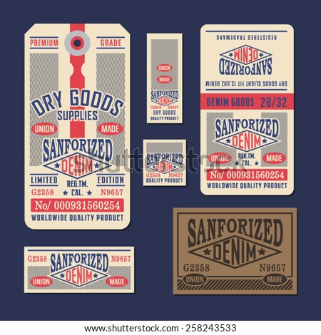 Denim labels typography, t-shirt graphics, vectors - stock vector