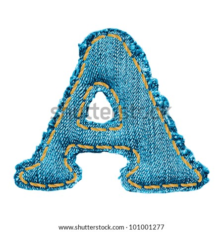 Denim letter. Jeans alphabet A - stock vector