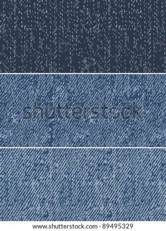 denim swatches repeating patterns - stock vector