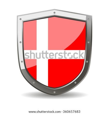 Denmark Flag on a Shield - stock vector