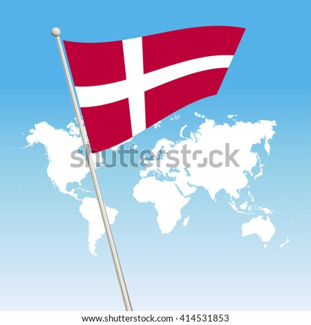 Denmark Flag. waving flag - stock vector