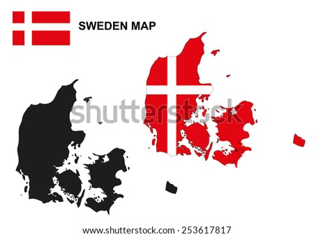 Denmark map vector, Denmark flag vector, Denmark vector - stock vector