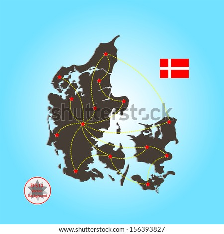 Denmark map with connection - stock vector