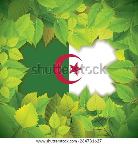 Dense, green leaves over the flag of Algeria - stock vector