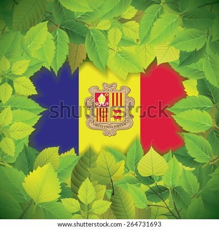 Dense, green leaves over the flag of Andorra - stock vector