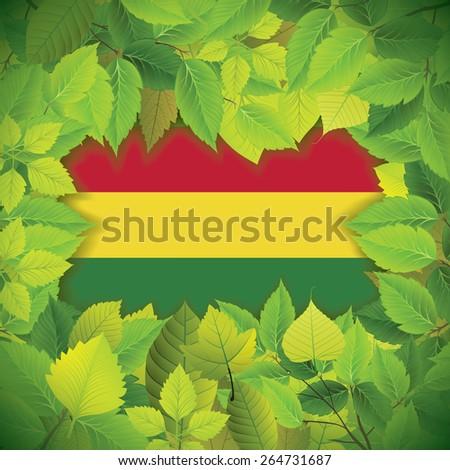 Dense, green leaves over the flag of Bolivia - stock vector