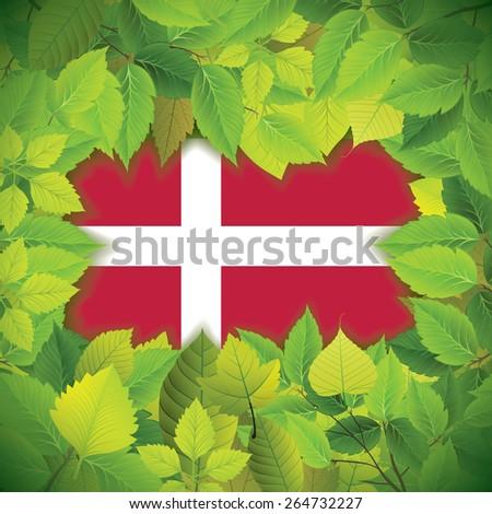 Dense, green leaves over the flag of Denmark - stock vector
