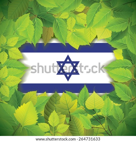 Dense, green leaves over the flag of Israel - stock vector
