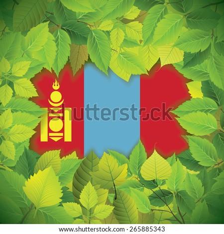 Dense, green leaves over the flag of Mongolia - stock vector