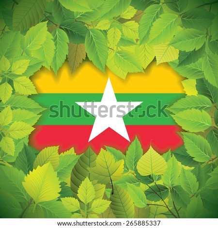 Dense, green leaves over the flag of Myanmar - stock vector