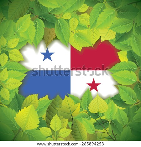 Dense, green leaves over the flag of Panama - stock vector