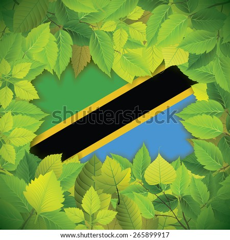 Dense, green leaves over the flag of Tanzania - stock vector