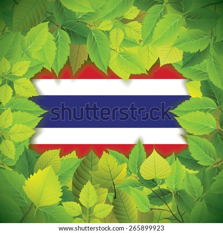 Dense, green leaves over the flag of Thailand - stock vector