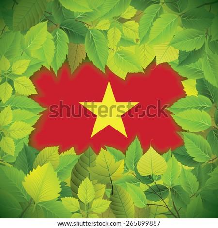 Dense, green leaves over the flag of Vietnam - stock vector