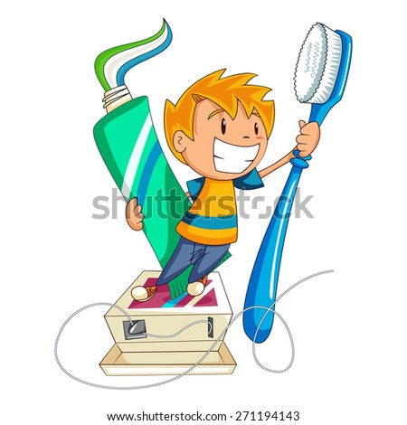 Dental care and health, child, vector illustration - stock vector