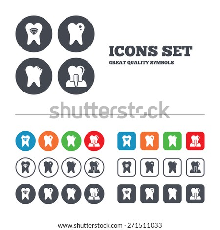 Dental care icons. Caries tooth sign. Tooth endosseous implant symbol. Tooth crystal jewellery. Web buttons set. Circles and squares templates. Vector - stock vector