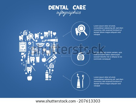 Dental care simple infographics. Tooth symbol made of dental symbols: dental floss, tooth brush, tooth paste, dental diagnostics etc. - stock vector