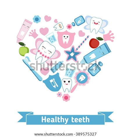 Dental care symbols in the shape of heart. Tooth fairy and healthy teeth. - stock vector