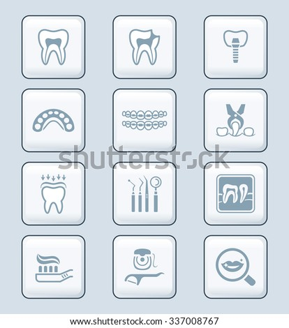 Dental care tools and procedures gray icon-set - stock vector