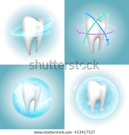 Dental care tooth design elements - stock vector